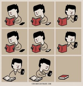 Una vignetta che illustra come un bambino è distratto dal cellulare e lascia un libro. L'economia dell'attenzione è messa a dura prova dalle nuove tecnologie