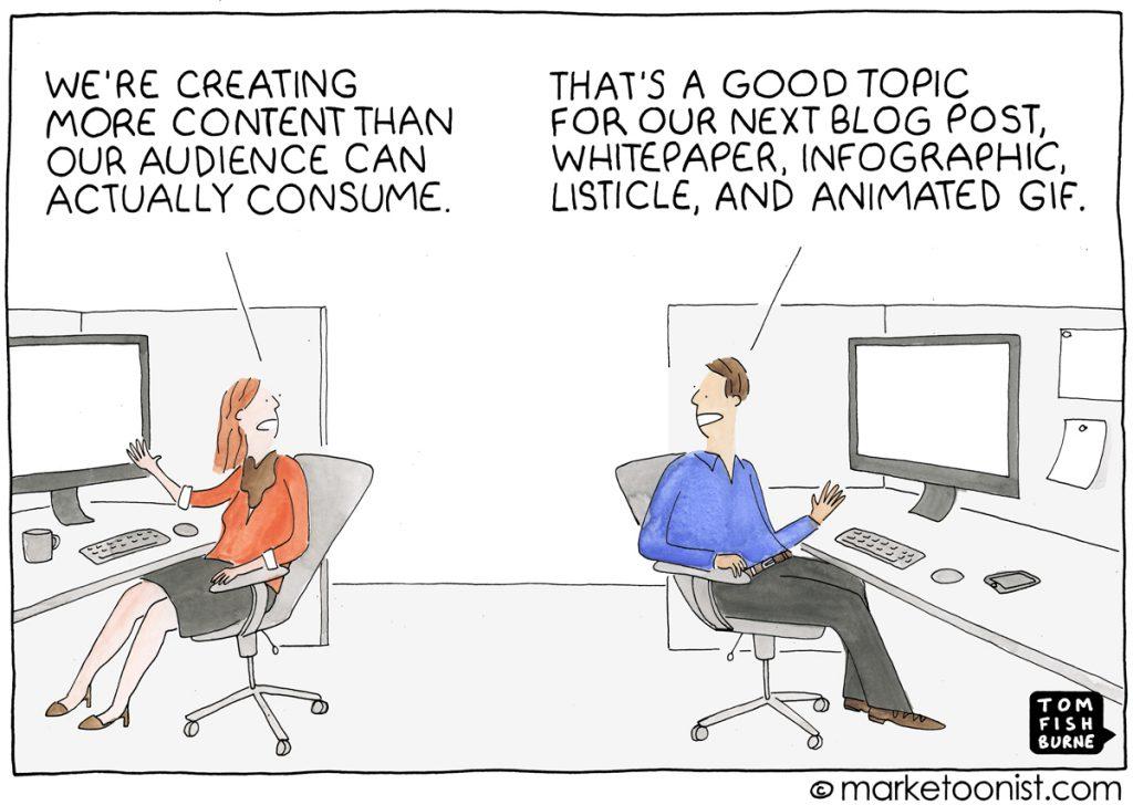 Una vignetta in cui due colleghi parlano di overload di content marketing