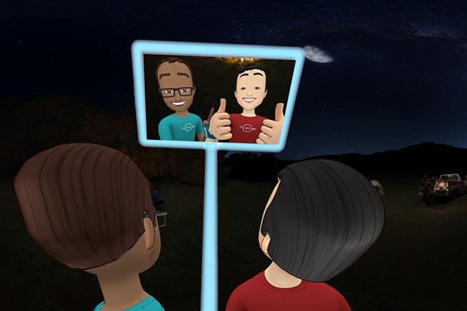 Due avatar si scattato un selfie all'interno di Fecabook Spaces