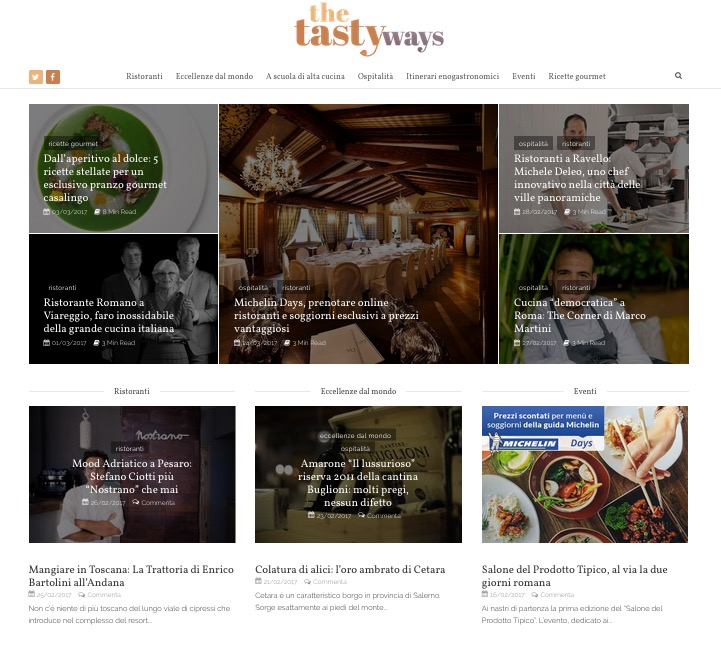 screenshot della schermata home del sito the tasty ways
