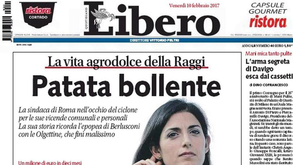 Prima pagina del quotidiano Libero che usa un titolo sessista contro il sindaco di Roma Virginia Raggi