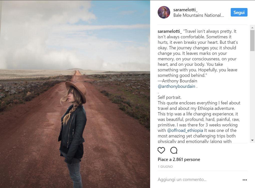 Uno scatto dal profilo Instagram di Sara Melotti