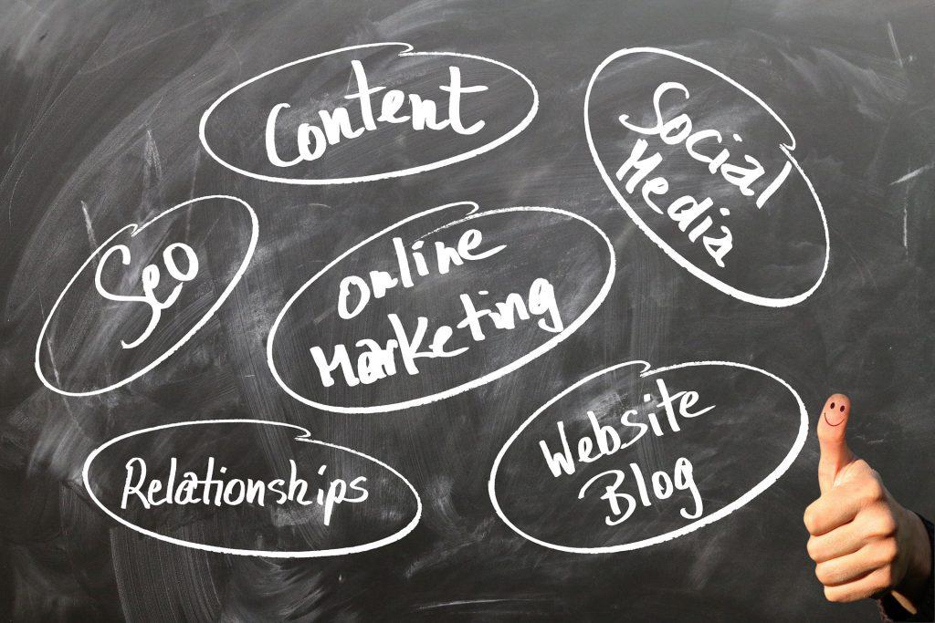 Una lavagna su cui sono segnati gli elementi del marketing online
