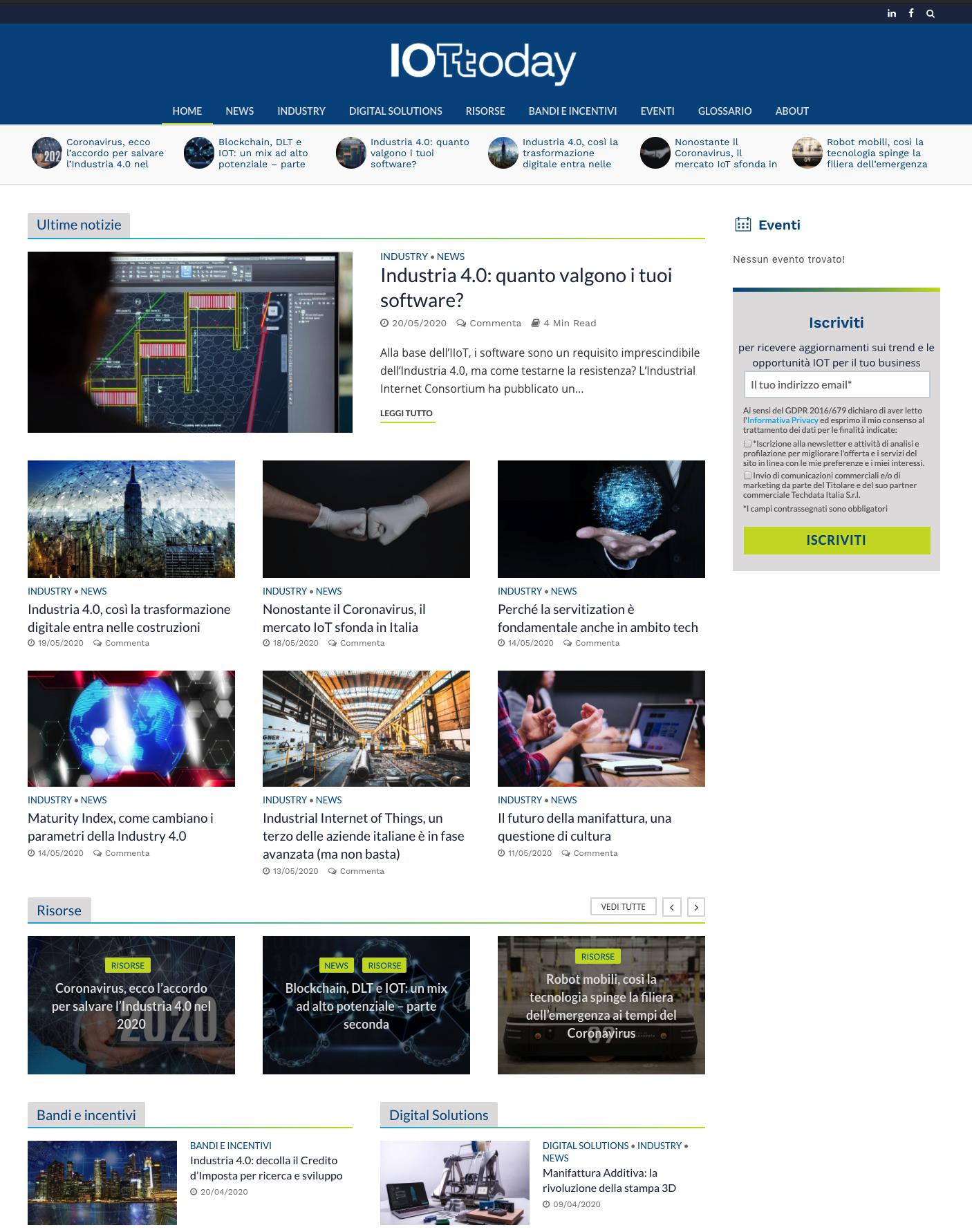 L'immagine presenta uno scrrenshot della homepage sito